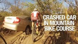 Crashed Car in Mountain Bike Race Course – FAIL 2014
