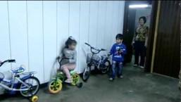 Little Asian Girl Drifts On Bike